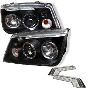 Carpart4u Volkswagen Jetta Halo LED Black Projector Headlights and LED