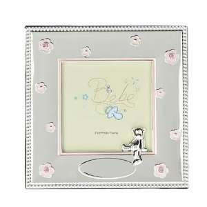 Silver plated photo frame   for a girl   takes 3 x 3 inch photo Baby