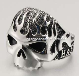 Rock & Punk 316L Stainless Steel Fire Skull Men`s Biker Ring L034