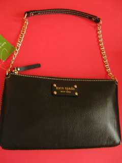 kate spade ♠ BLACK LEATHER SHOULDER BAG gold chain handbag purse