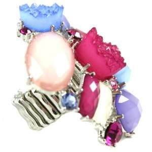 Beautiful AMI Purple, Pink and Blue Crystal Cluster Fashion