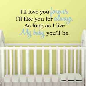 LL LOVE YOU FOREVER Nursery Baby Quote Vinyl Wall Decal Decor Art