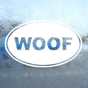 WOOF Oval Dog BARK White Decal Car Window Laptop White