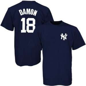 New York Yankees #18 Johnny Damon Navy Blue Youth Players T shirt