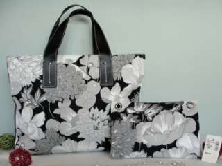 BURBERRY~Floral~GRAY BLACK LEATHER BAG TOTE~WALLET POUCH Bussiness