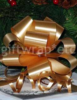 20 BIG GLITTERY METALLIC GOLD PULL BOWS CHRISTMAS GIFT