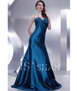 JSSHAN Taffeta Strapless Party Evening Gown Prom Dress