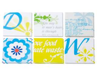 Chic KITCHEN TILE STICKERS Decorative Retro Transfers Blue Yellow x 12
