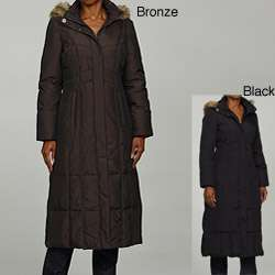 Anne Klein Womens Quilted Long Down Coat