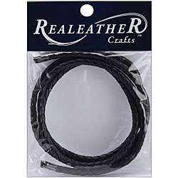 Realeather 40 inch Round Braided Black Leather Cord