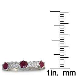 10k White Gold Ruby and Diamond Criss cross Ring