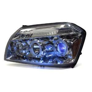 05 07 Dodge Magnum Chrome Dual HALO LED Projector Headlights + HID Low