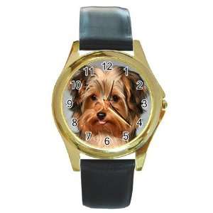 Yorkshire Terrier Puppy Dog 10 Round Gold Trim Watch Z0656