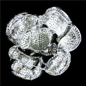 13 Huge Rose Brooch Pin Pink Rhinestone Crystal Flower Floral