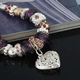 Purple murano glass beads crystal heart charm European silver plated