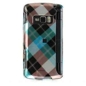 BLUE DIAGONAL CHECK Hard Plastic Cover Case for LG enV3