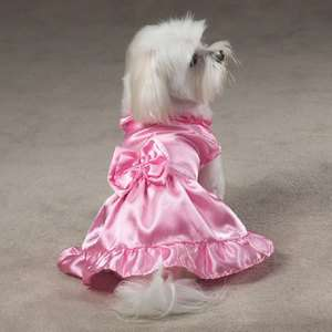 StUnNiNg DOGGIE DOG COSTUME WEDDING BRIDE PRETTY PINK DRESS WITH BOW