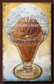 Tin Metal Sign   Big Dipper Fifties Chocolate Ice Cream Diner #27935A