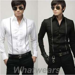 Mens Casual Slim Fit Dress Shirts 2 Color 3 Size Z38