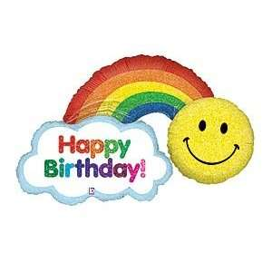 Happy Birthday Rainbow Smiles 45 Mylar Balloon Large