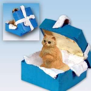 Red Persian Blue Gift Box Cat Ornament