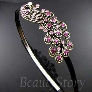 ADDL Item  antiqued rhinestone crystal peacock hair band