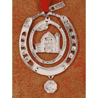 Strait Designs 28W Barn Silver Pewter Western Ornament