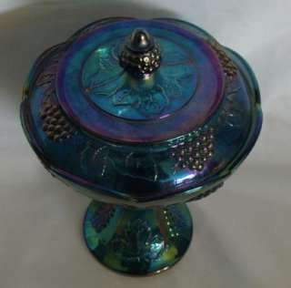 Indiana Blue Harvest Carnival Glass Covered Candy Dish Grape
