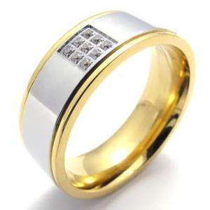 Mens Gold Silver Stainless Steel Ring Size 9 #U20016
