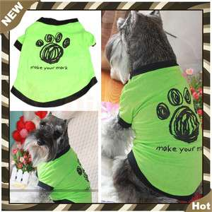 Cute Pet Dogs Cotton Printed Clothes T Shirt Apparel Dress Puppy Shirt