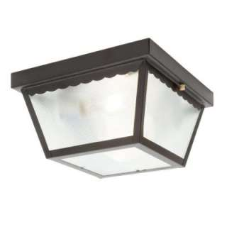Hampton Bay Matte Black 2 Light Outdoor Flushmount WB0325 at The Home