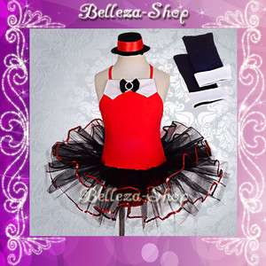 Girl Red Ballet Tutu Dance Costume Jazz Fancy Party Dress Arm Mitts 6
