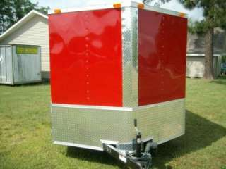 7x16 Enclosed ATV Cargo Motorcycle Trailer red deluxev nose ramp door