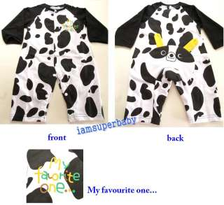BABY GIRL BLACK N WHITE COW ANIMAL PRINT ROMPER 6 24M