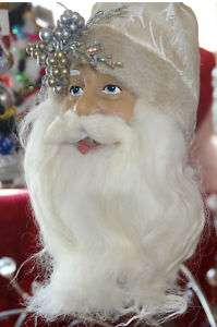 Kurt Adler Christmas BROCADE SANTA HEAD ORNAMENT H0534