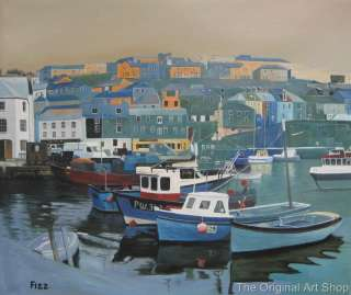 CORNWALL MEVAGISSEY HARBOUR BOATS MODERN ART PAINTING