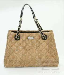 Natural & Gold Quilted Gold Coast Cork Maryanne Handbag NEW