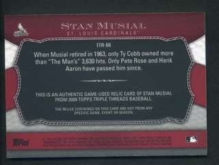 2009 Triple Threads Stan Musial Authentic Game Used Jersey Relic 05/36