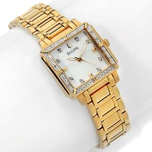 Bulova Ladies Diamond Accented Square Bezel Bracelet Watch