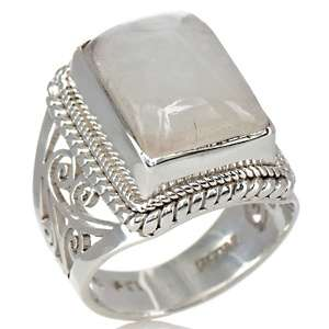 Himalayan Gems™ Moonstone Sterling Silver Scroll Ring