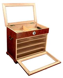 ct WOOD CIGAR HUMIDOR CABINET END TABLE DISPLAY CASE OPEN BOX