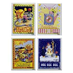 Four Seasons Tile Fridge Magnets (Set of 4) Kitchen