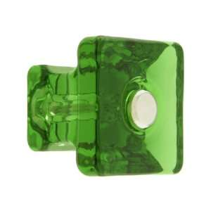 Square Forest Green Glass Cabinet Knob With Nickel Bolt