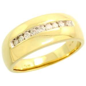 14k Gold Comfort Fit Mens Diamond Ring, w/ 0.25 Carat Brilliant Cut