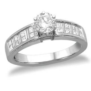 14k White Gold Round Diamond Engagement Ring (1/2 ct Center, 1.04 cttw