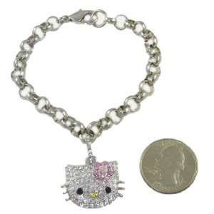 Hello Kitty Crystal Charm Bracelet with Pastel Pink Flower