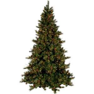 PRE LIT CASHMERE PINE CHRISTMAS TREE W CONES   7.5 TALL   CLEAR