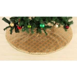 Country Living Vintage Christmas 52in Tree Skirt Gold Satin with Gold