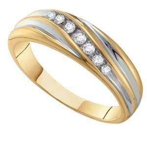 1/6 Carat Diamond 14k Two Tone Gold Mens Wedding Ring