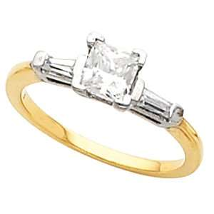 3/4 CT TW Eng 14K Yellow Gold Diamond Engagement Ring Jewelry